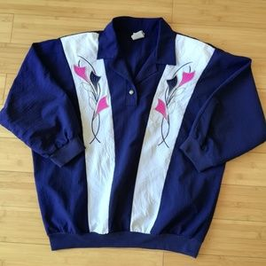 Vintage Colorblock Floral Embroidered Blouse